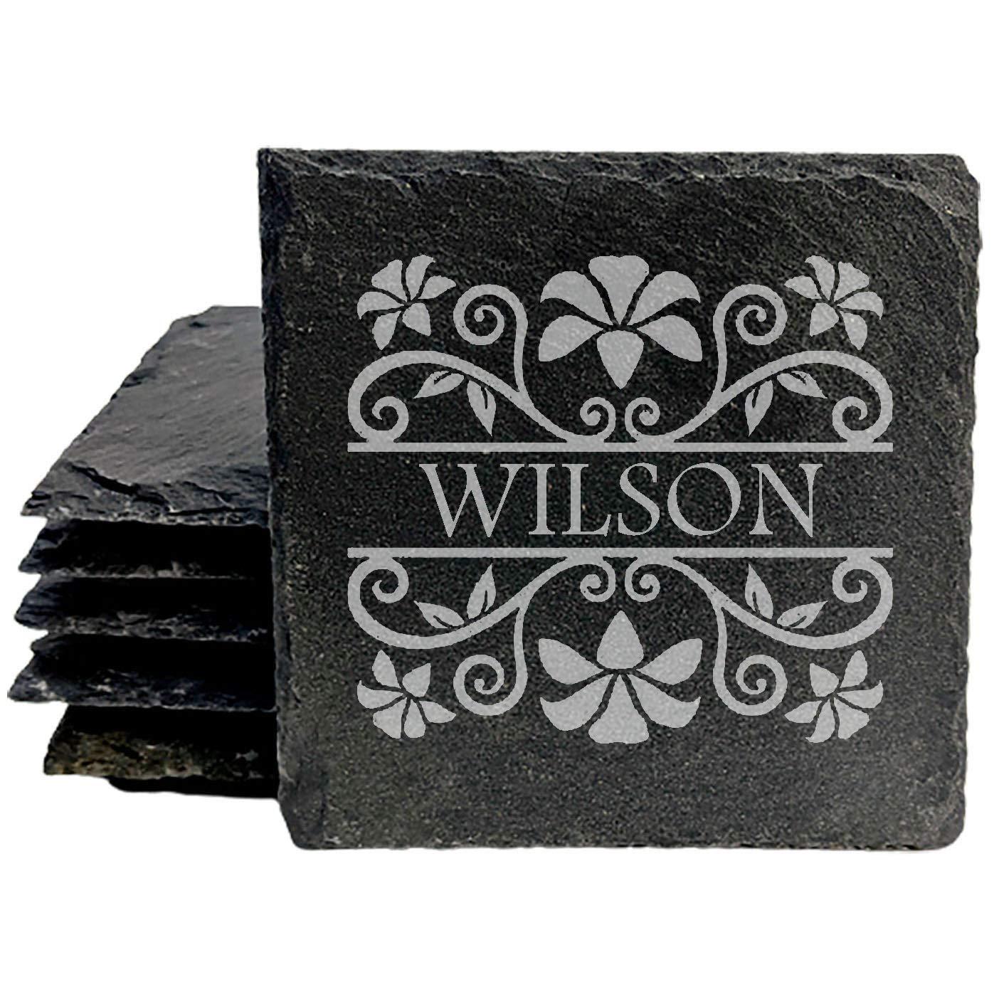 Manufacturer supreme regenerated product Monogram Personalized Custom Coasters - Square set Slate 8 of