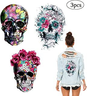 Skull Stickers Patches Halloween Supplies Red Rose Flower Butterfly Feather Iron on Heat Transfer Decals for Jacket Jeans Clothes DIY Decorations 3 Large Size Decals