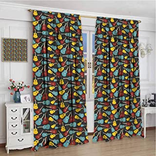 Guitar Shading Insulated Curtain Antique Wooden Acoustic Guitars Illustration Folk Country Music Flamenco Retro Style Soundproof Shade W96 x L84 Inch Multicolor