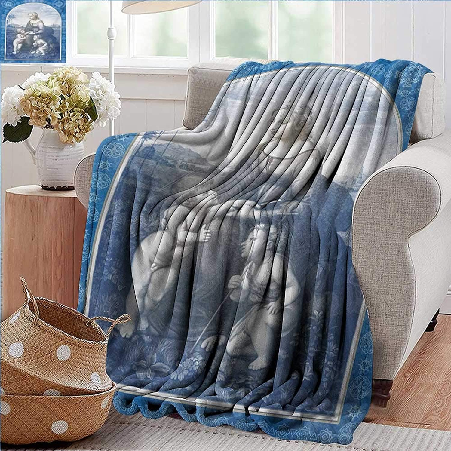 PearlRolan Weighted Blanket for Kids,Renaissance,Medieval Middle Ages Mother and Sons on Farm with Antique Frame Artful Print,bluee Grey,Weighted Blanket for Adults Kids, Better Deeper Sleep 35 x60