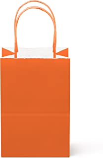 """24 Counts Food Safe Premium Paper and Ink Small 8.5"""" X 5.25"""", Vivid Colored Kraft Bag with Colored Sturdy Handle, Perfect for Goodie Favor DIY Bag, Environmentally Safe (Small, Orange)"""