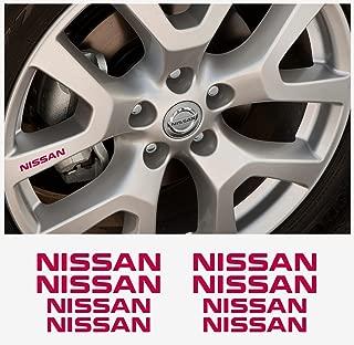 Nissan rim- window- brake caliper- mirror decal 4+4 pcs in Set (red)