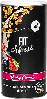 nu3 Fit Protein Muesli - Avena con proteína sabor Berry Crunch - 450 g de muesli proteico con bayas, almendras, guaraná y ...