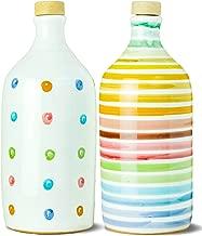 Antico Frantoio Muraglia | Premium Italian First Cold Pressed Extra Virgin Olive Oil | Gourmet EVOO Gift Set | Handmade Italian Ceramic Bottle. POLKA DOT & RAINBOW | 17 Fl. Oz (500 ml)