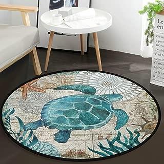 Vdsrup Nautical Sea Turtle Ocean Animal Round Doormat Starfish Retro Map Non Slip Absorbent Round Rug Floor Carpet Yoga Mat for Entryway Bedroom Living Room Sofa Home Decor