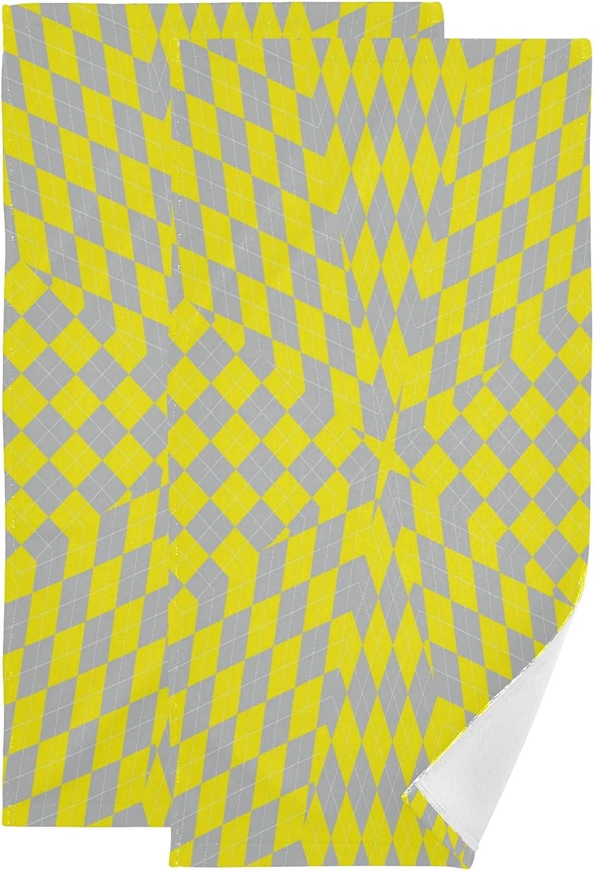 ALAZA Yellow Argyle Hand Towels Absorbent T Cheap bargain Bath Decorative Award Soft