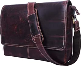 15 Inch Leather Messenger Laptop Cross-Body Bag for Office School