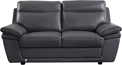 Amazing Amazon Com Baxton Studio Dakota Leather Modern Loveseat Creativecarmelina Interior Chair Design Creativecarmelinacom