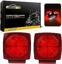 Partsam 12V Waterproof Square Led Trailer Light,Red LED Stop Turn Tail License Brake Running Light Lamp for Trailers Under 80