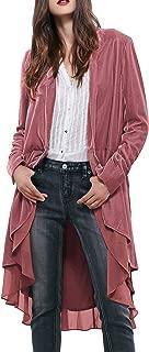 Womens Ruffled Asymmetric Long Velvet Blazers Coat Casual Jackets