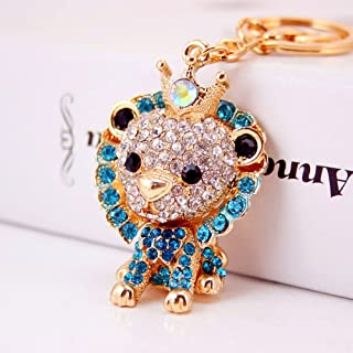 Jzcky Shzrp Lovely Lion Crystal Rhinestone Keychain Key Chain Sparkling Key Ring Charm Purse Pendant Handbag Bag Decoration Holiday Gift(Blue)