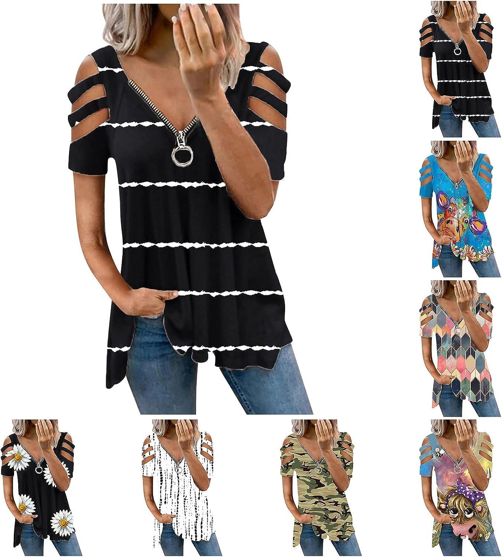 Jaqqra Summer Tops for Women, Womens Casual Print Zipper V-Neck Short Sleeve T-Shirts Plus Size Tops Blouse Tunic Tee