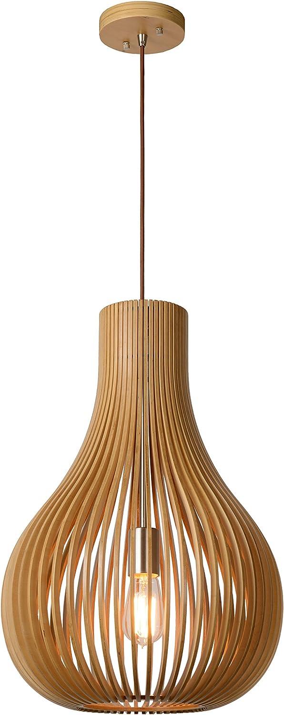 Lucide Bodo - Pendelleuchten - Durchmesser 38 cm, E27, 60 W, Helles Holz, 38 x 38 x 195 cm