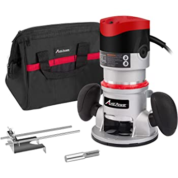 11-Amp 2 HP Fixed-Base Wood Router with Edge Guide, 1/2-Inch, 3/8-Inch and 1/4-Inch Collets and Carrying Bag