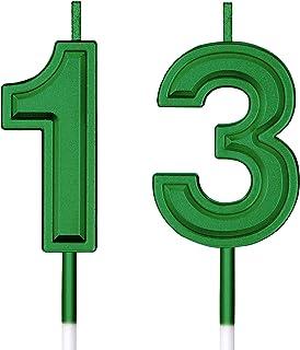 شموع عيد الميلاد الـ 13 شموع رقمية للكعك، شموع زينة لتزيين حفلات أعياد الميلاد والزفاف والذكرى السنوية والاحتفال بها (أخضر)