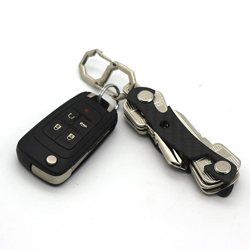 Multi-Function Black Key Organizer, Carbon Fiber Key Chain, Key Ring Car Accessory, Office Supplies, Hook and Keys- by Mulwee inc