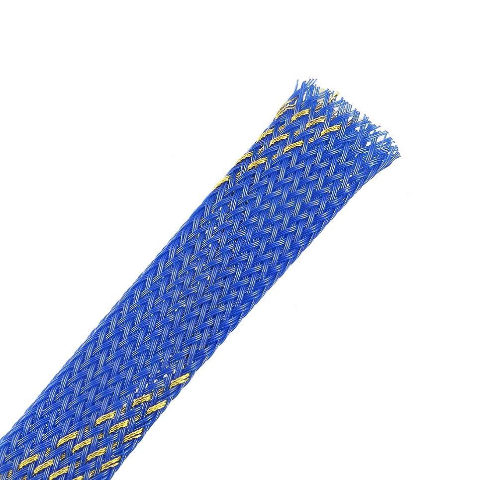 薄暗いソーセージまた明日ねuxcell コードプロテクター PET拡張可能ワイヤーホルダー ケーブルスリーブ ケーブル収納 6 M-18mm ブルー+ゴールド