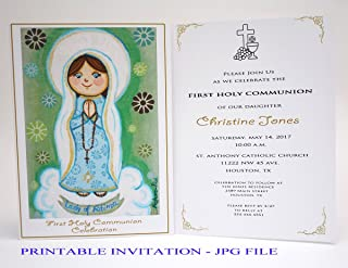 Girl first communion invitation girl Our Lady of Fatima Virgin Mary Boy first holy communion invitation boy Religious invitation First communion invites First communion invitation printable