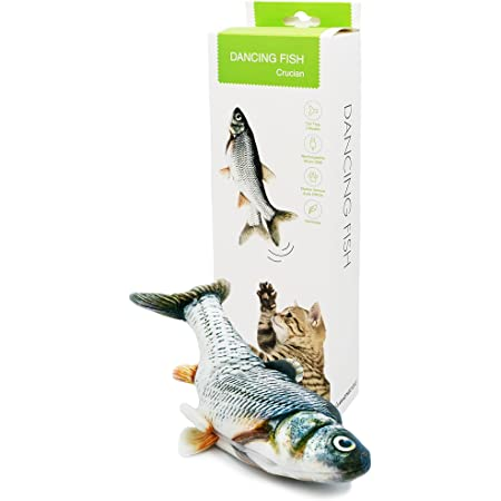 Dancing Fish Toy for Indoor Cats & Small Dogs – Motion Sensor Cat Toy with 2 Catnip Packets – USB-Chargeable, Soft, Durable, Washable, Low-Noise Floppy Fish Interactive Pet Gifts, 12x5 In.
