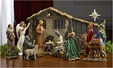 17 Piece Deluxe Edition Christmas Nativity Set with Real Frankincense Gold and Myrrh - 7 inch Scale