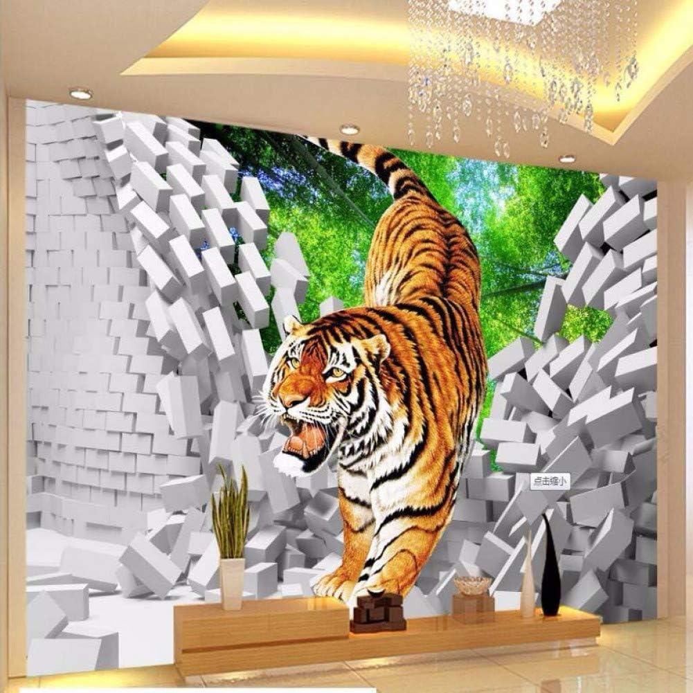 WPFZH 3D Mural Custom Kids Wallpaper Gifts Larg Broken Tiger NEW before selling ☆ Down Wall