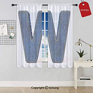 Symmetrical Latin Letter Capital W with Blue Jean Pattern Typography Design Print Window Curtain Sheer Voile Panels,for Kids Room,Kitchen,Living Room & Bedroom,2 Panels,Each 32x36 Inch,Blue Yellow