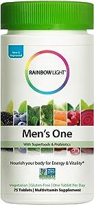 Rainbow Light Men's One Non-GMO Project Verified Multivitamin Plus Superfoods & Probiotics - 75 Tablets