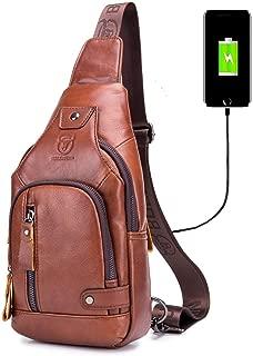 Sling Bag with USB Charging Port Multi-Pocket Genuine Leather Chest Bag Hiking Travel Daypack XB-129