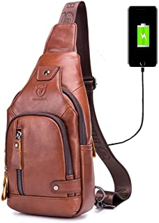 BULLCAPTAIN Sling Bag with USB Charging Port Multi-Pocket Genuine Leather Chest Bag Hiking Travel Daypack XB-129