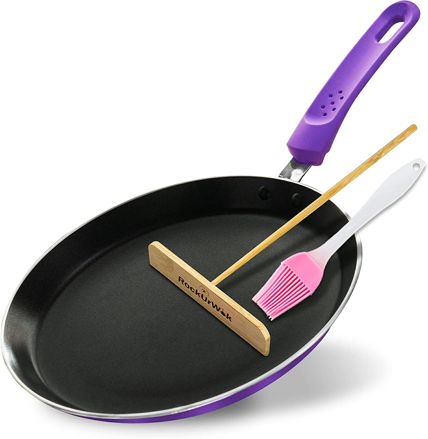 Crepe Pan ROCKURWOK Nonstick Pancake with Elegant Handle Silicone F 2021 spring and summer new
