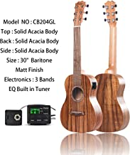 Left Handed - Caramel CB204GL 6 String All Solid Acacia Acoustic & Electric Ukulele Guitalele with Truss Rod