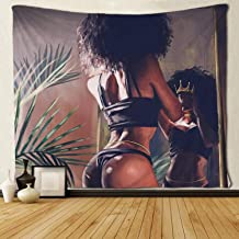 SARA NELL Tapestry African American Women with Crown Black Art Tapestries Hippie Art Black Art Wall Hanging Throw Tablecloth 50X60 Inches for Bedroom Living Room Dorm Room