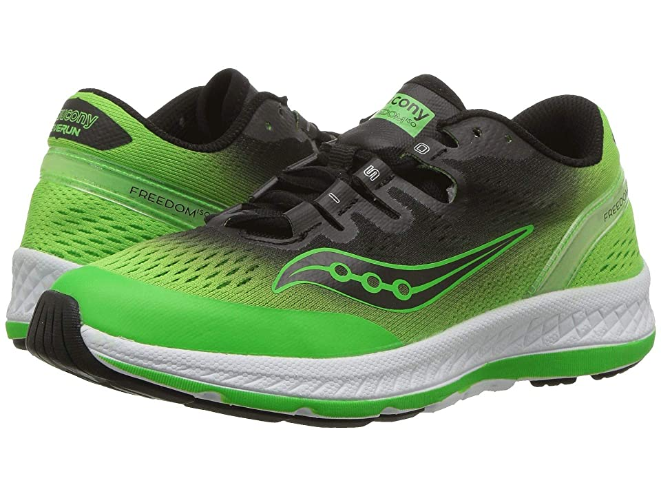Saucony Kids Freedom ISO (Little Kid/Big Kid) (Black/Green/Fade) Boys Shoes