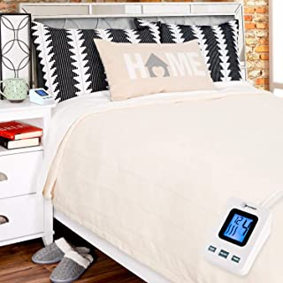 SimplyWarm Electric Heated Polar Fleece Blanket with Sensor-Safe Overheat Technology – New for 2018 HIGH TEC Digital Controller (Ivory, Full w/Single Controller)