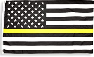 High Supply 3x5 Thin Yellow Line Flag with Two Brass Grommets, 100% Polyester Fabric, and Double Stitched Edges Emergency Dispatch Flag