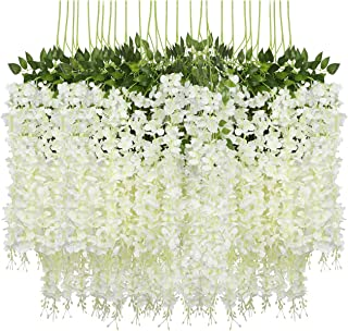 Pauwer 24 Pack (86.6 FT) Artificial Wisteria Vine Ratta Fake Wisteria Hanging Garland Silk Long Hanging Bush Flowers String Home Party Wedding Decor (White)