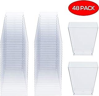 48 Copas de Postre Desechables Cuadrados, 225 ml - Plástico Reutilizable y Duradero Tazas de