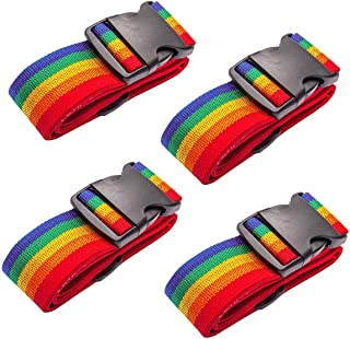Axgo Luggage Straps Heavy Duty 4 Pcs Adjustable Suitcase Belts Travel Accessories, Rainbow