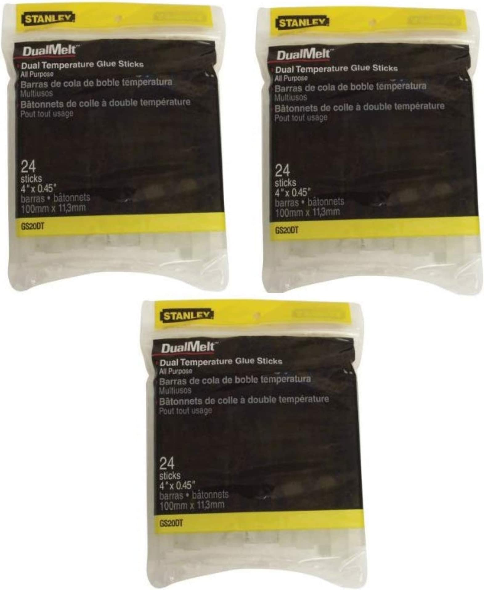 Stanley GS20DT Dual Temperature 4-Inch Glue Sticks, 24-Pack, 3 Pack