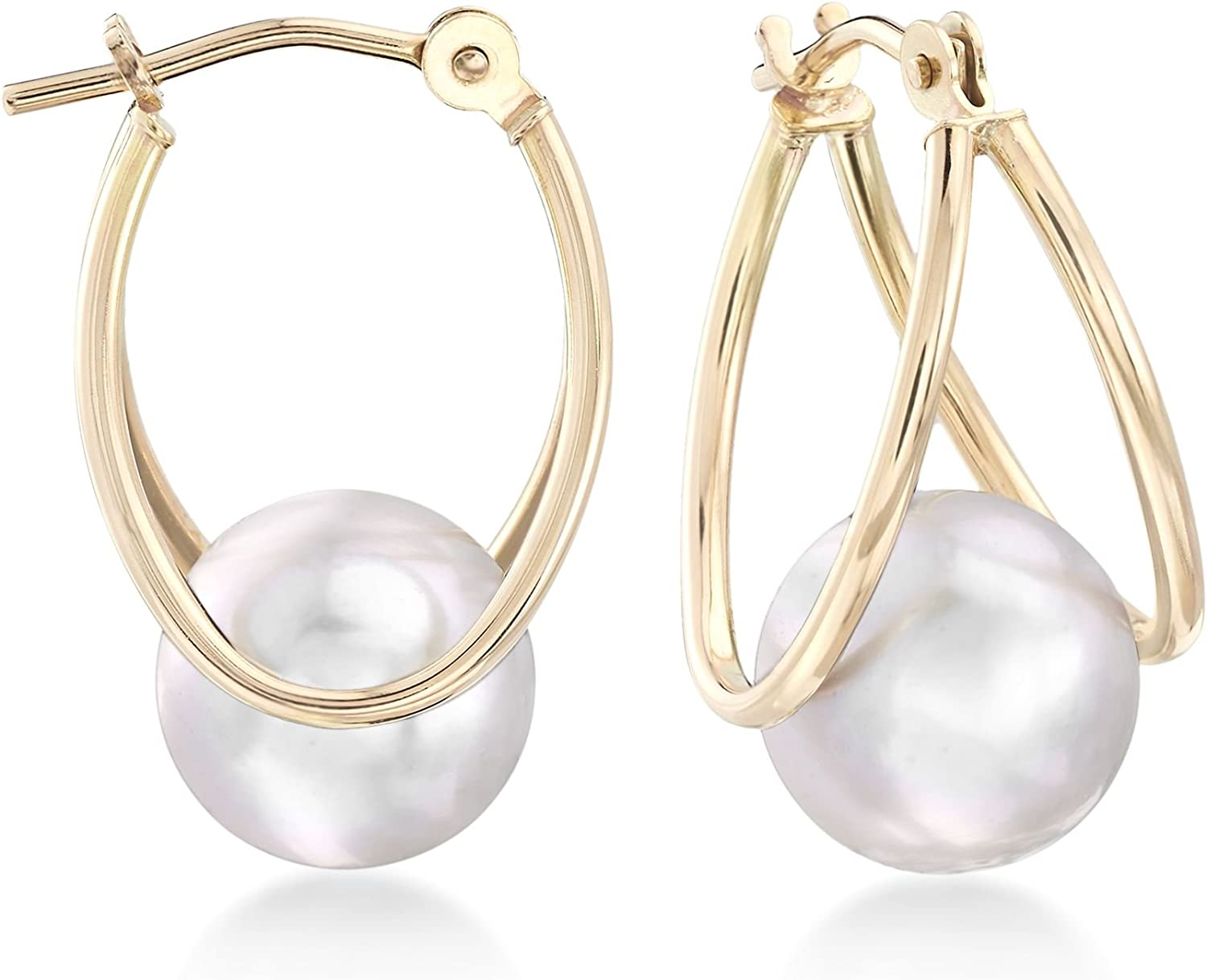 Ross-Simons 8-9mm Gray Cultured Pearl Double-Hoop Earrings in 14kt Yellow Gold