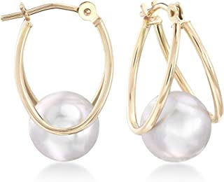 Ross-Simons 8-9mm Gray Cultured Pearl Double Hoop Earrings in 14kt Yellow Gold