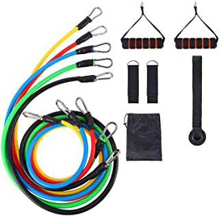 11 Pcs Resistance Fitness Band Set with Stackable Exercise Bands Legs Ankle Straps Multi-function Professional Fitness Equ...