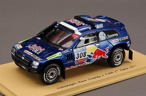 Spark Model S0824 VW Race Touareg 3 N.308 2nd Dakar 2011 1 43 MODELLINO DIE CAST kompatibel mit