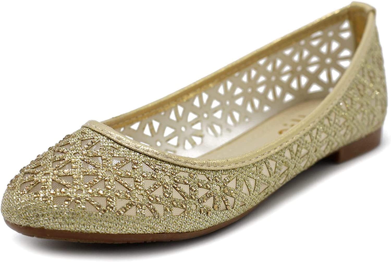 Ollio Women's shoes Mesh Glitter Comfort Ballet Flat