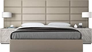 """Vänt Upholstered Wall Panels - King/Cal King Size Wall Mounted Headboards - Vitage Leather Dusty Taupe - Panel Size 39"""" Wide x 11.5"""" High - Pack of 4 Panels"""