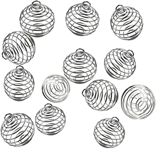 JIALEEY Spiral Bead Cages Pendants, 20 PCs 25x30mm Silver Plated Stone Holder Necklace Cage Pendants Findings for Jewelry Making and Crafting
