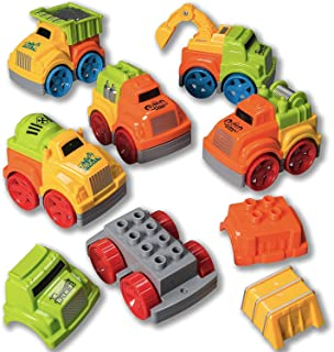 Prextex Set of 6 Friction Powered Toy Cars Take-Apart Construction Vehicle Playset for Kids - Great Birthday Gift Toy Set for Boys and Girls or for Christmas Stocking Stuffers