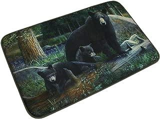 Microfiber Memory Foam Black Bear Family Bath Mat