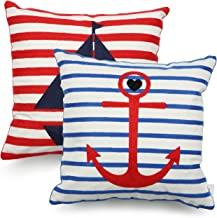 Eight Owls Nautical Coastal Beach Throw Pillow Covers – Embroidered Cotton Canvas 18 x 18 Inch (45cm x 45cm) - Anchor and Boat Design - Set of 2