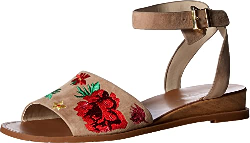 Kenneth Cole New York Wohommes Jinny Flat Sandal with Ankle Strap, tan, 10 M US